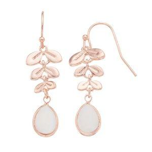 Mother-of-Pearl Leaf Drop Earrings